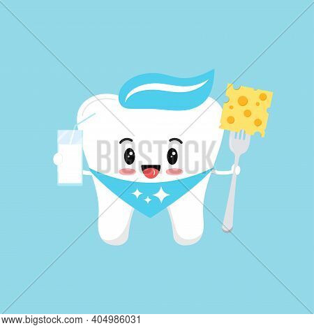 Cute Tooth Molar With Milk And Cheese On Fork. Flat Design Cartoon Style Smiling Character Vector Il