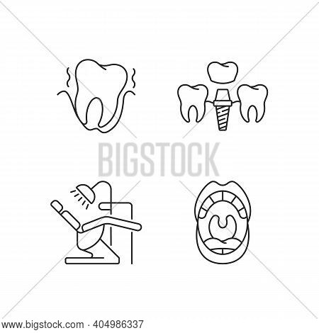Diseases Of The Oral Cavity Linear Icons Set. Instruments For Dental Treatment. Dental Care. Customi
