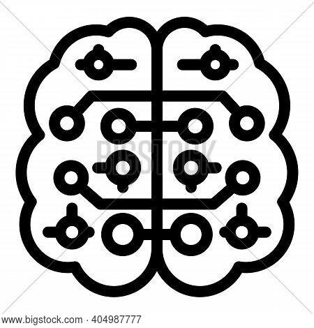 Neurology Brain Icon. Outline Neurology Brain Vector Icon For Web Design Isolated On White Backgroun