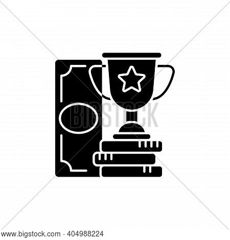 Winning Black Glyph Icon. Cash Prize. Victory. Becoming Profitable Sports Bettor. Keeping Winning Be