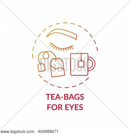 Tea-bags For Eyes Concept Icon. At-home Face Care Procedure Idea Thin Line Illustration. Treating Ir