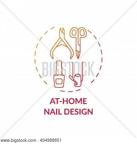 At-home Nail Design Concept Icon. Home Beauty Procedure Idea Thin Line Illustration. Manicure, Pedic