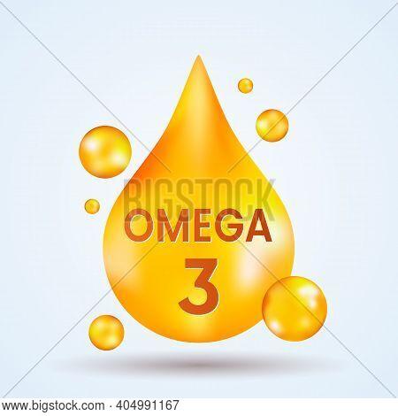 Golden Realistic Drop Of Vitamins And Minerals Omega 3