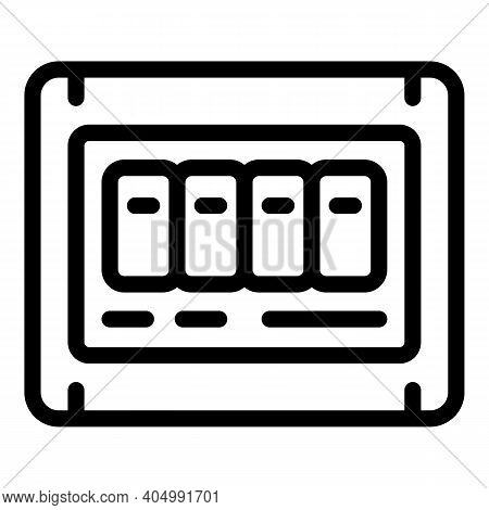 Fuse Box Icon. Outline Fuse Box Vector Icon For Web Design Isolated On White Background