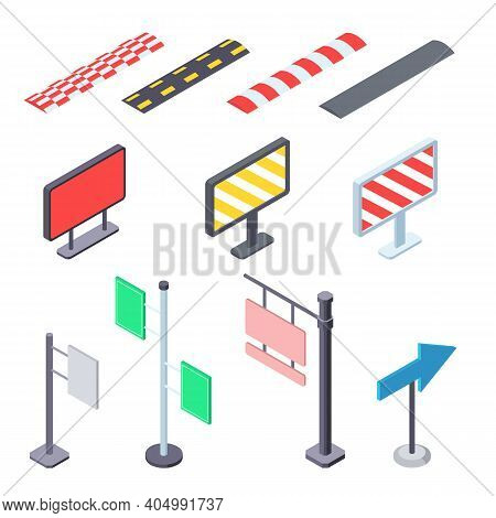 Street Road Signs In Isometric Vector Illustration. Direction Pointers, Speed Bumps And Signposts Se