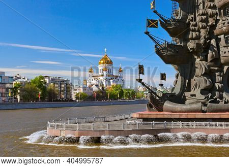 Monument to Peter the Great and Cathedral of Christ the Savior in Moscow Russia