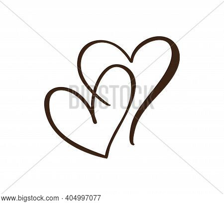 Two Flourish Lovers Hand Drawn Hearts. Vector Holiday Valentine Card Handmade Calligraphy. Decor For