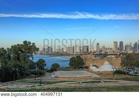 Tel Aviv, Israel - December 28, 2015: View Of Tel-aviv Coastline From Jaffa