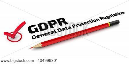 Gdpr. General Data Protection Regulation. The Check Mark. One Red Check Mark With Black Text Gdpr. G