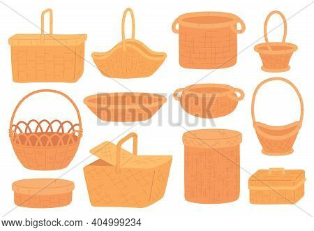 Wicker Baskets. Empty Straw Basket For Picnic, Grocery Or Gift. Handmade Round Bamboo Hamper And Box