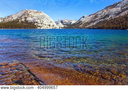 The stone beaches surround Tenaya lake. Beautiful Yosemite Park, along the Tioga Road. The evergreen forest at the foot of the mountains. USA