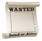 A blank wanted poster with text saying wanted dead or alive and bullet holes poster