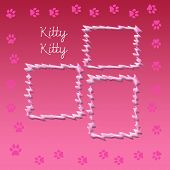 paw print scrapbook frame for cat pink and white poster
