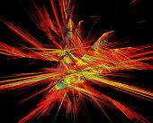 Abstract Fiery Space Explosion on Black Background poster