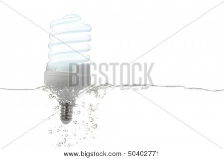 fluorescent lamp on, in water -  renewable energy concept - isolated on white