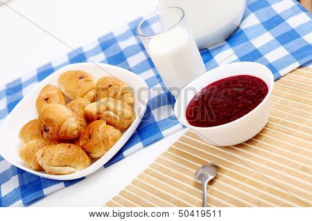 Continental breakfast with croisant and glass of milk poster