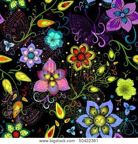 Black seamless floral pattern with vivid flowers and colorful transparent butterflies (vector eps 10) poster