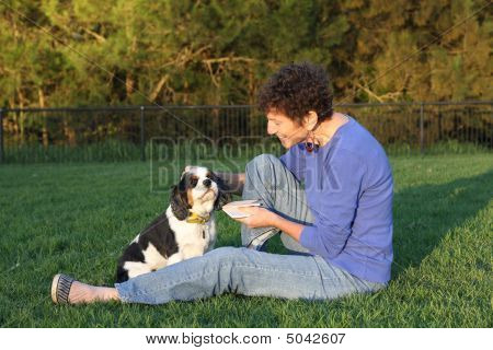 Mature Woman And Dog