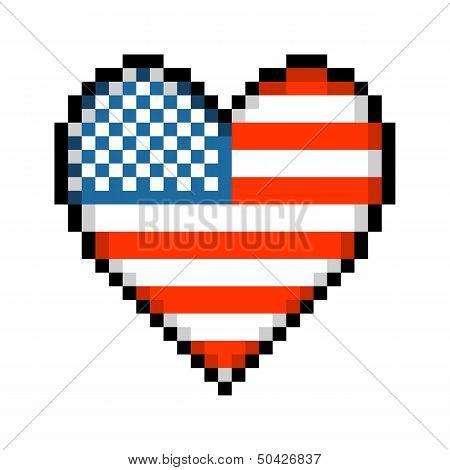 8-bit Pixel American Love Heart