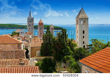 Beautiful cityscape of Croatia the city of Rab poster