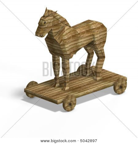 Trojan Horse without ladder With Clipping Path over white poster