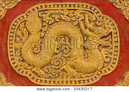 Naga Wall Sculpture On Ubosot In Wat Saen Fang , Chiangmai Thailand
