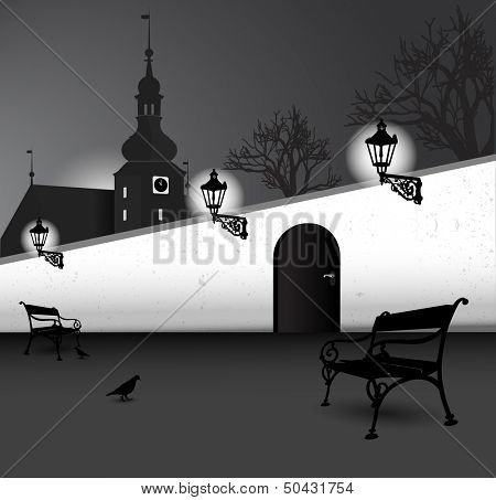 Illustrated black and white vector abstract silhouette of old street with a church, benches, trees, walls and birds