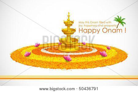 illustration of Happy Onam decoration with diya and rangoli