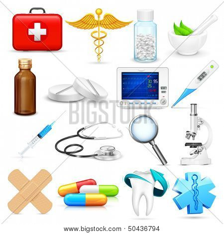 illustration of collection of detailed medical object