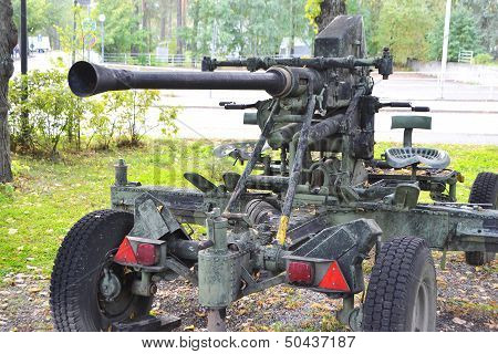 The old antiaircraft gun from World Second War in Imatra Finland. poster