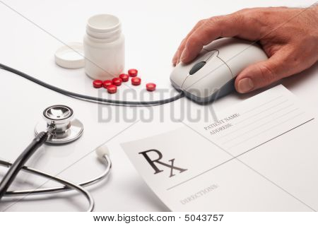 Prescription Medicine And Computer Mouse