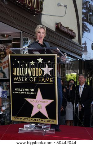 LOS ANGELES - SEP 4:  Jane Lynch at the Jane Lynch Hollywood Walk of Fame Star Ceremony on Hollywood Boulevard on September 4, 2013 in Los Angeles, CA