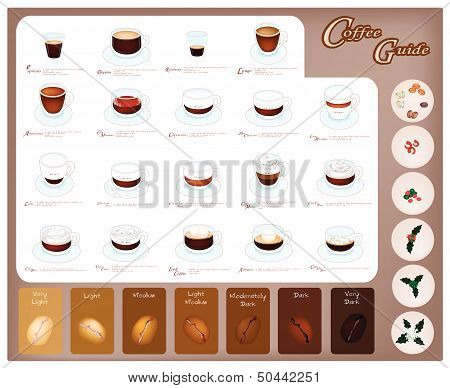 A Set Of Coffee Type And Coffee Bean