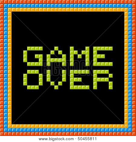 Game Over Message Written In Pixel Blocks