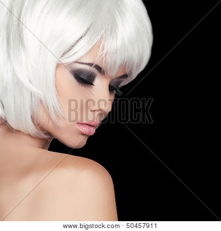 Fashion Beauty Portrait Woman. White Short Hair. Isolated On Black Background. Beautiful Girl Face C