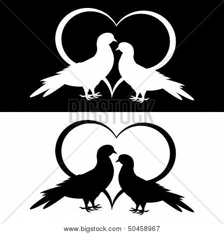 Monochrome silhouette of two doves and a heart. Vector-art illustration poster