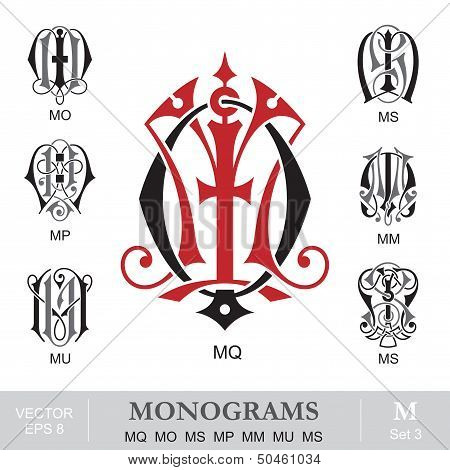 Vintage Monograms MQ MO MS MP MM MU MS