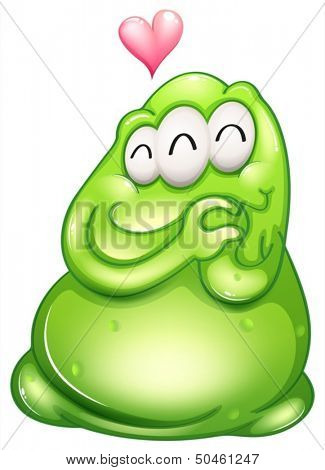 Illustration of an in-love greenslime monster on a white background