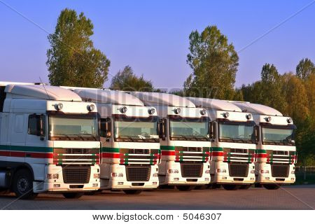 Five Trucks In A Row With Trees And Blue Sky In The Background