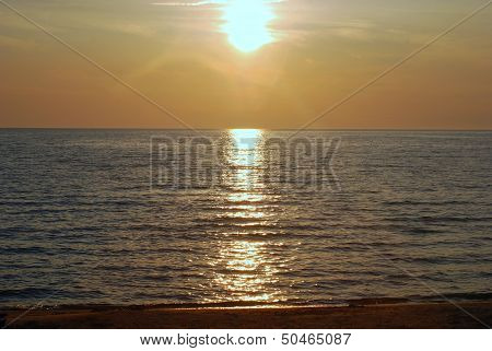 Sunset on the Shore Near Mackinaw City