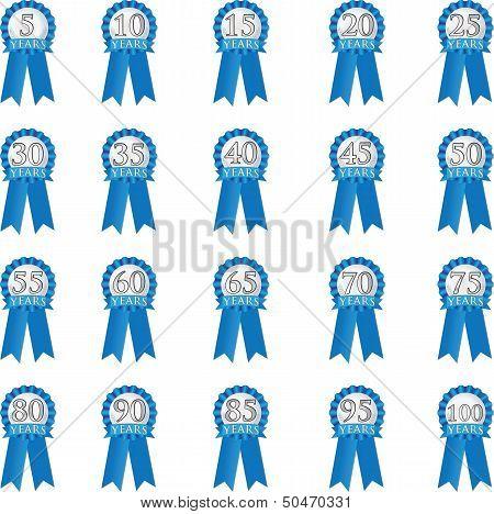 Blue anniversary ribbon