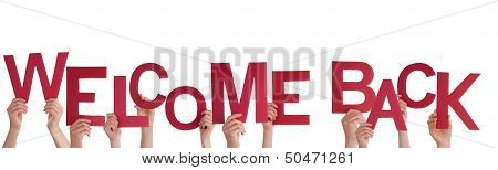 Many Hands Holding a Red Welcome Back Isolated poster