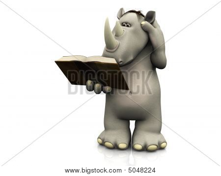 Cartoon Rhino Reading Book.