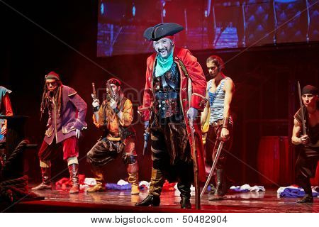 MOSCOW - DEC 15: Actors in role of pirates on stage at Big Concert Hall Izmailovo during musical spectacle for children Treasure Island, December 15, 2012, Moscow, Russia.