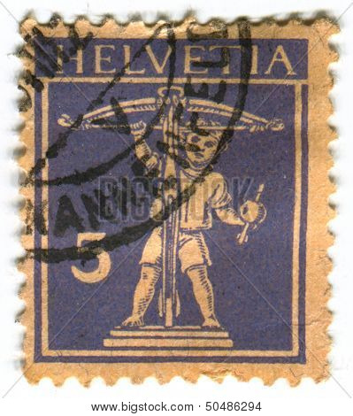 SWITZERLAND - CIRCA 1930: A stamp printed in Switzerland shows image of the Eros, in Greek mythology, was the Greek god of love, circa 1930.