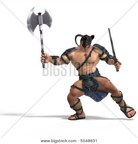 Muscular Barbarian Fight