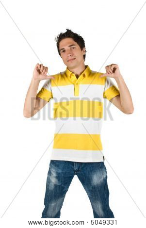 Young Man In T-shirt And Jeans