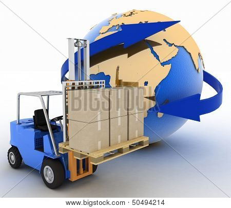 autoloader with boxes on a background a globe. Conception of rapid delivery of loads. 3d illustration. poster