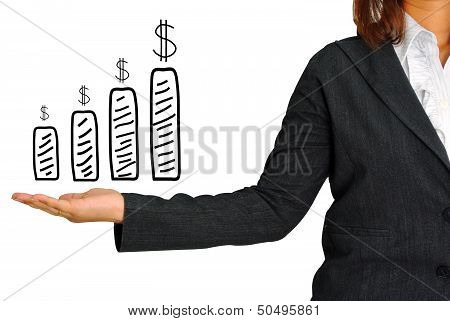 Graph And Dollar Sign On Hand Women Business