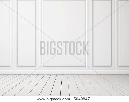 white interior with wood floor
